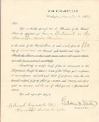 Stanton, Edwin Commission Signed/ Mississippi Marine Brigade