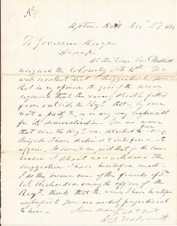 Wadsworth, James autographed letter/ KIA at the Wilderness