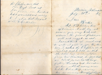 3rd New Hampshire soldier's letter/  Battle of Fort Wagner