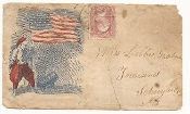 Zouave, U.S. flag and mortar patriotic cover