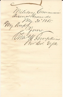 Tompkins, Charles autograph during Lincoln's assassination trial