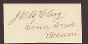 McClurg, James autograph/ Governor of Missouri & Congressman